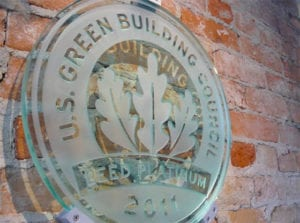 Cincinnati LEED Platinum office - LEED Platinum Plaque
