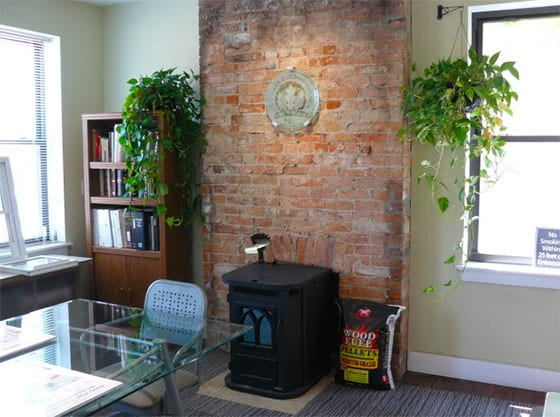 Cincinnati LEED Platinum office - Pellet Stove